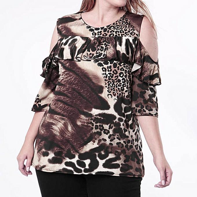 mode femmes Décontracté Off Shoulder Leopard Print Plus Taille chemisier hauts Shirt XXL à prix pas cher
