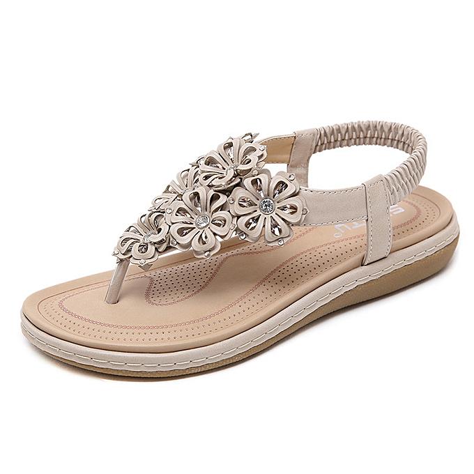 Fashion Ethnic female sandals bohemian rhinestone flowers large Taille comfortable flat chaussures à prix pas cher