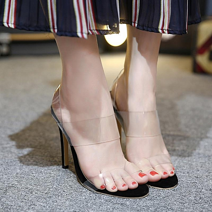 Fashion New femmes Transparent Stiletto Strappy Crystal chaussures High Heel Clear Sandal noir-EU à prix pas cher