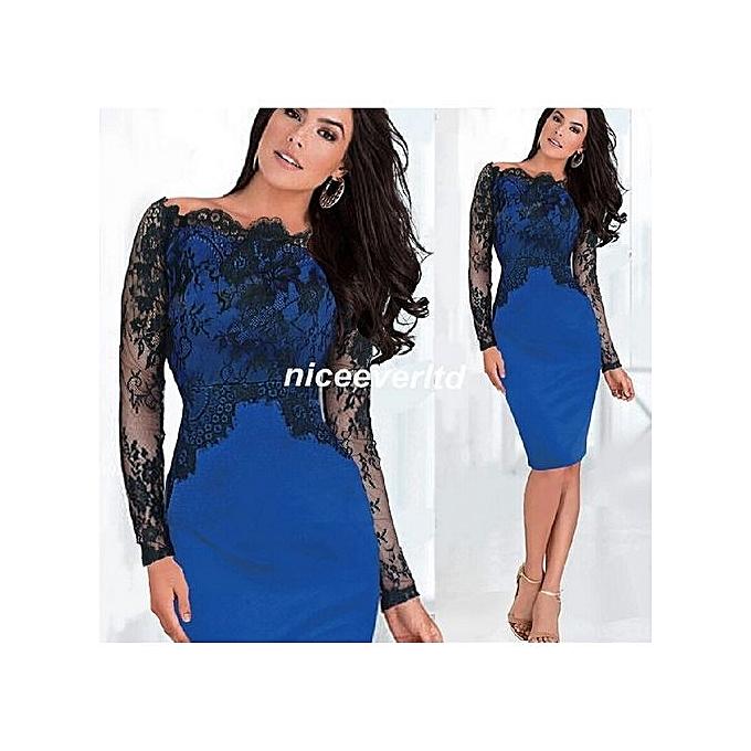 Fashion femmes Elegant Pinup Vintage Retro Lace Off Shoulder Patchwork Belted Stretch Couleurblock Bodycon Party Fitted Dress-bleu à prix pas cher