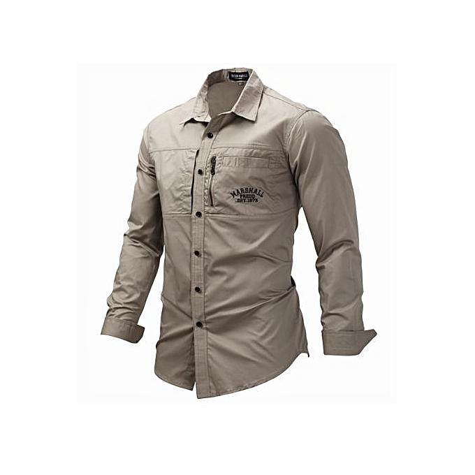 mode Western Style grand Taille Hommes& 039;s Long-sleeved Lapel Zipper Shirt Cotton Military de plein air Décontracté Shirt-KHAKI à prix pas cher