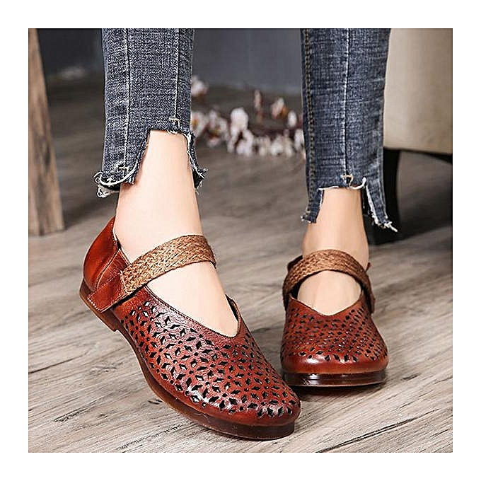 Fashion SOCOFY Retro Hollow Out Pattern Hook Hook Hook Loop Soft Flat Leather Shoes à prix pas cher  | Jumia Maroc 91b9cf