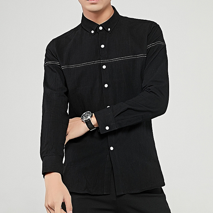 Tauntte Cotton Men Shirts Long Sleeve Slim Formal Shirts (noir) à prix pas cher