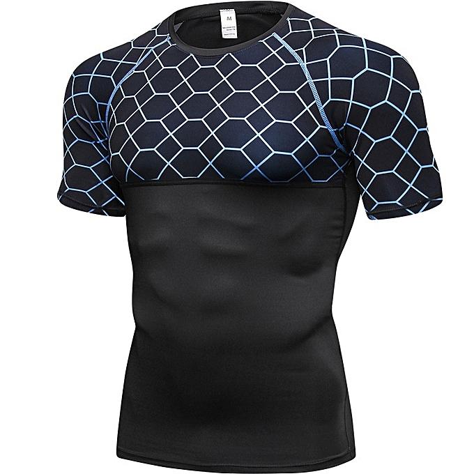 Other Men's Short Sleeve Printing Running Tops Sweat Absorbing Training T Shirt-bleu à prix pas cher