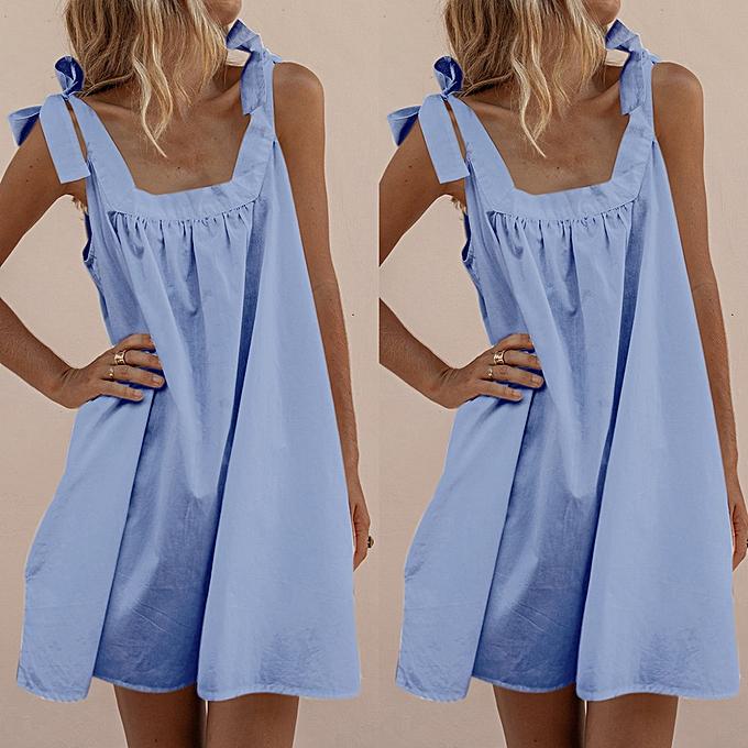 Fashion femmes Vintage Solid Bowknot Summer Sleeveless Beach Mini Dress à prix pas cher