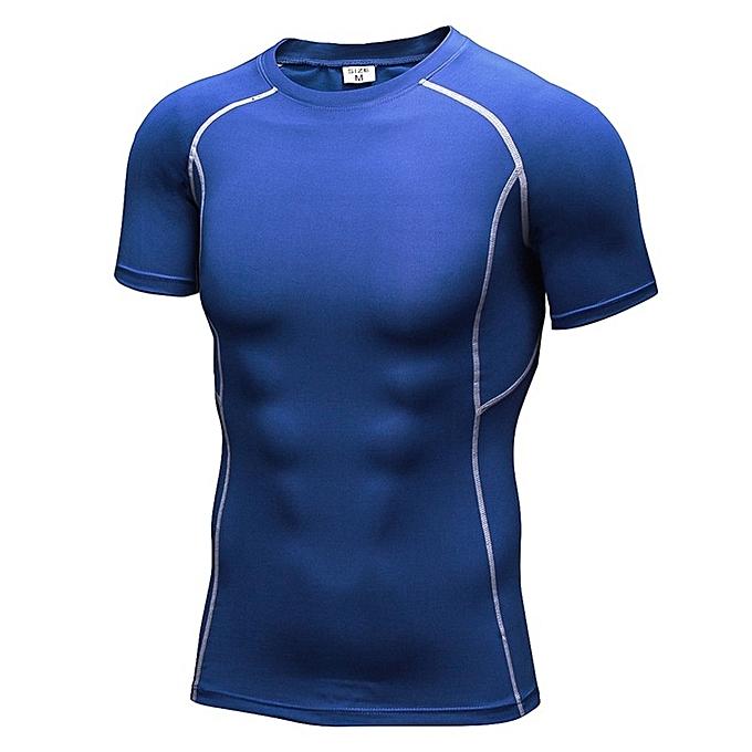 Other nouveau mode Hommes& 039;s manche courte Perspiration Quick Dry T Shirt  -bleu à prix pas cher