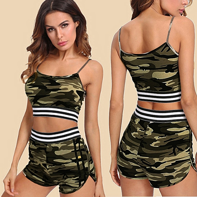 Generic Generic Two Pieces femmes  Vest Tank Top Camouflage Printed Sleeveless Shirt Pants Sets A1 à prix pas cher