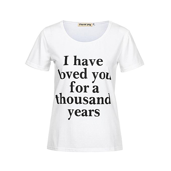 Generic Generic  &Me Girls femmes Ladies été Letter Print hauts TShirt Family Outfits Clothes A1 à prix pas cher
