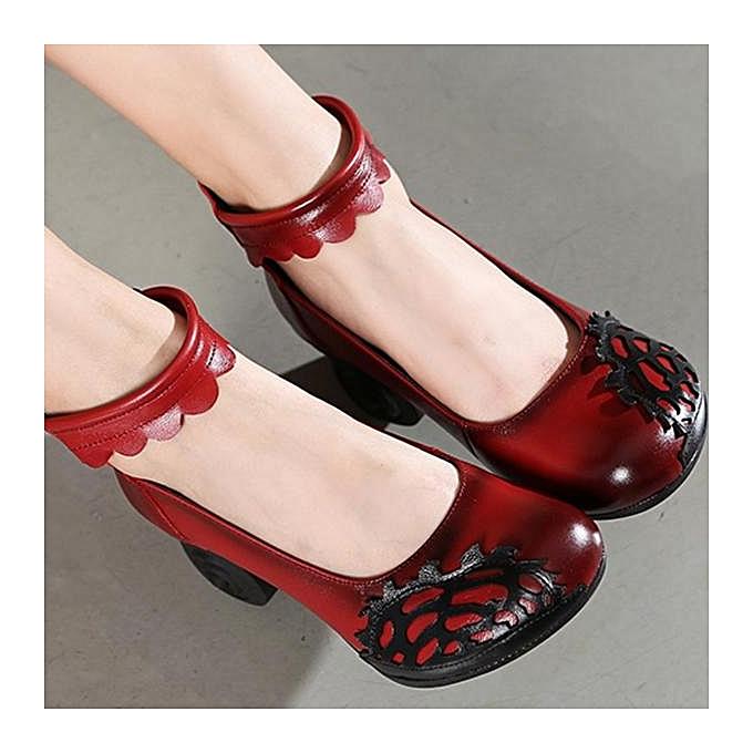 Fashion SOCOFY Retro Handmade Hollow Out Pattern Leather Leather Leather Mid Heel Pumps-EU à prix pas cher    Jumia Maroc 05e504