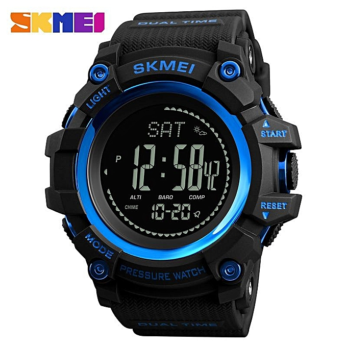 Other SKMEI Brand Watch Mens Sports Hours Pedometer Calories Digital Altimeter Barometer Compass Thermometer Weather 1358 (bleu) LJMALL à prix pas cher