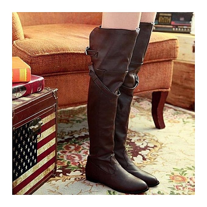 Fashion WoHommes  Winter Over Knee Shoes Thigh High Long Boots Leather Buckle Biker Riding Shoes Knee Brown à prix pas cher  | Jumia Maroc 7c76f3