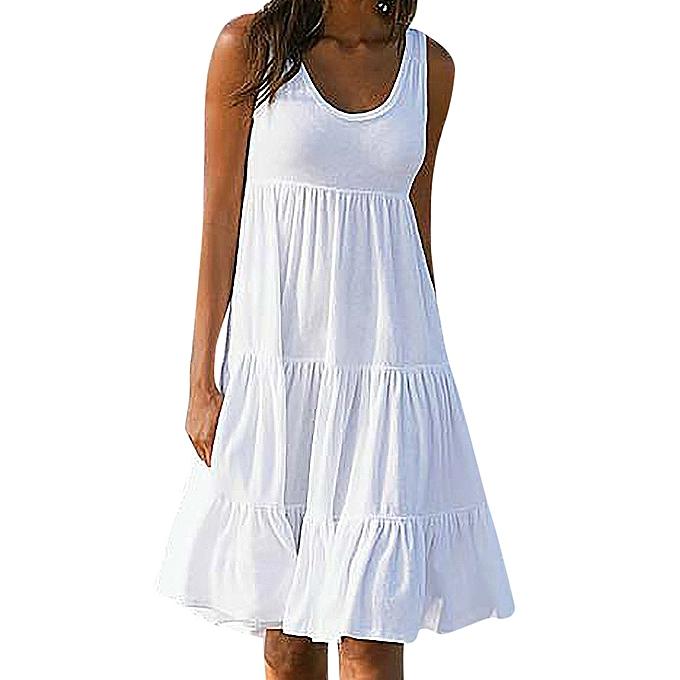 Generic Fovibery femmes Holiday Summer Solid Sleeveless Party Beach  Dress à prix pas cher
