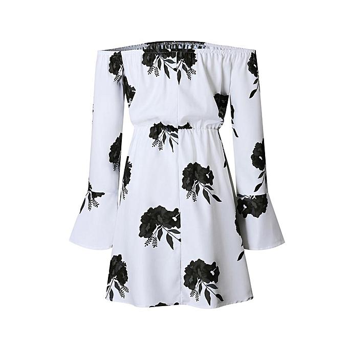 Fashion femmes Off Shoulder Floral Printed Long Sleeve Beach Dress With Belt BK M à prix pas cher