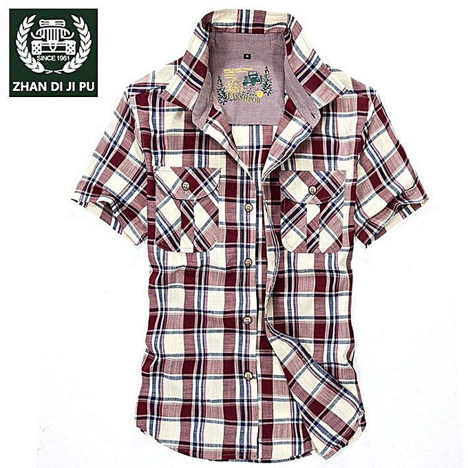 GENERAL Hommes& 039;s été Shirt Plaid Cotton de plein air Décontracté manche courte Shirt à prix pas cher