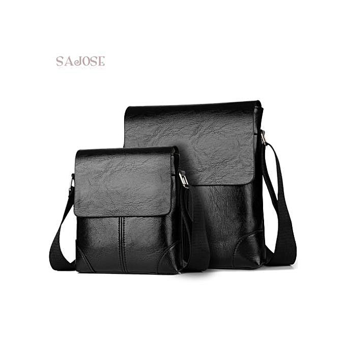Other Crossbody Bags For Men's PU Leather Shoulder Bag Casual Vintage 2 Sets Fashion Business High Quality HandBags Men Messenger Bags(2sets-noir) à prix pas cher