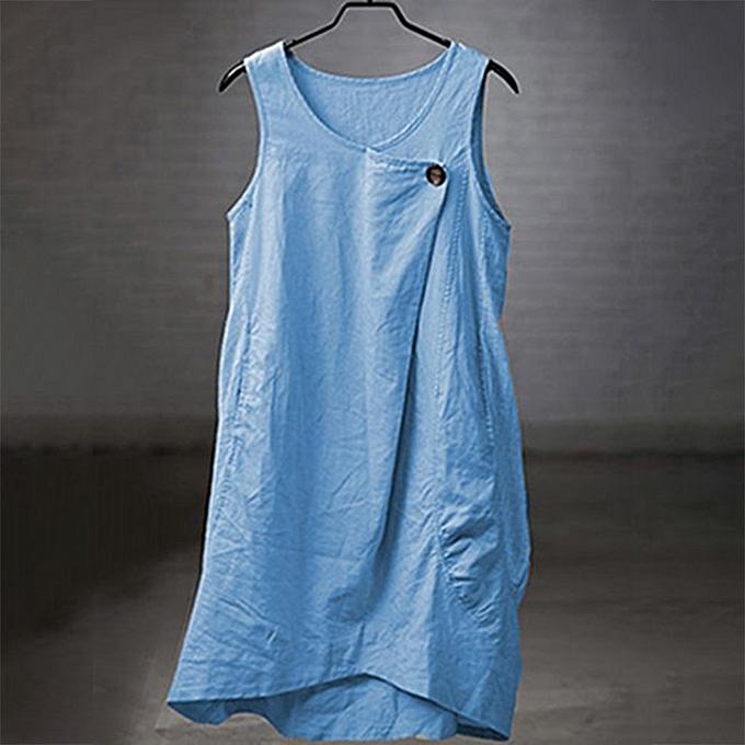 Fashion Plus Taille Wohommes Fashion Summer Fake Open Button Vest Solid Couleur Dress à prix pas cher