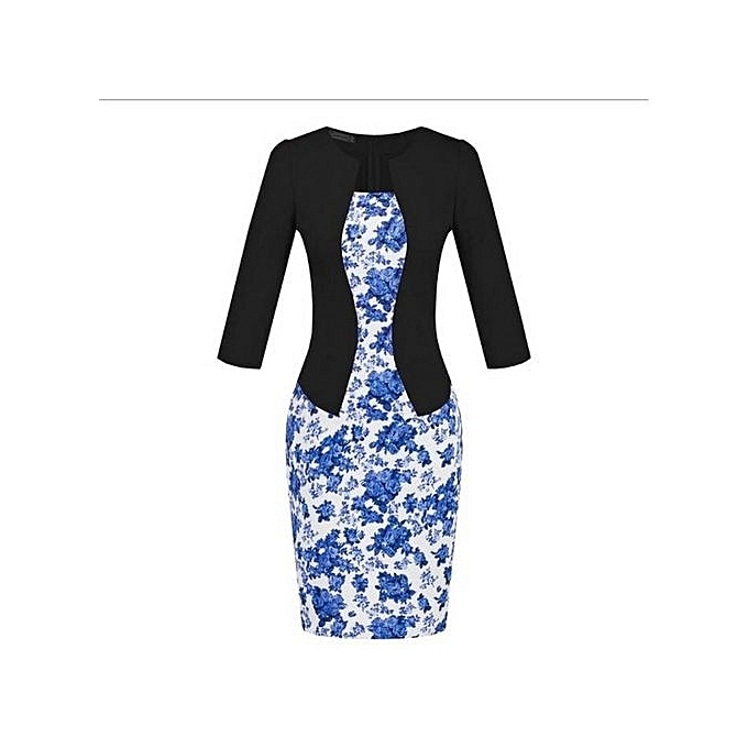 Generic Faux Twinset Floral Office Bodycon Robe With Belt (noir bleu) à prix pas cher