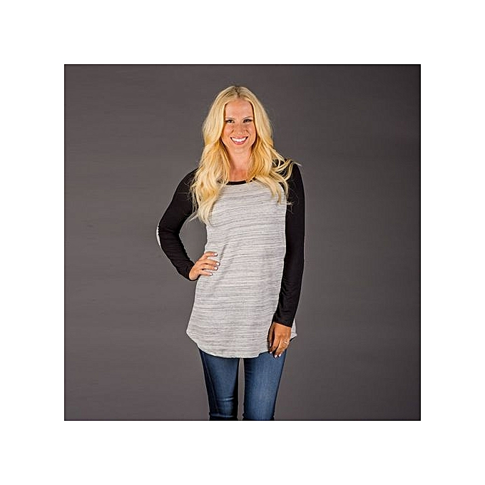 Eissely Fashion gris femmes Long Sleeve Shirt Casual Blouse Loose Tops T Shirt à prix pas cher