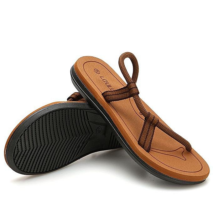 Fashion Men's Slippers Casual Beach Sandals - Khaki à prix pas cher    Jumia Maroc