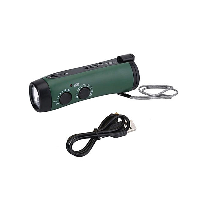 Other Multi-Function Hand Crank LED Camping Emergency Flashlight Radio Torch Phone Charger vert à prix pas cher