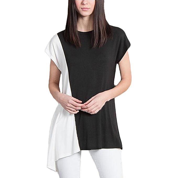 mode Auxo nouveau été Décontracté Loose Round Neck manche courtes Irregular T-Shirt Top noir à prix pas cher