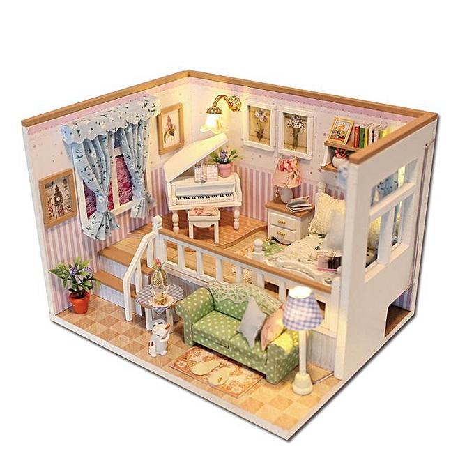 Autre Hoomeda M026 DIY Dollhouse boisen House à cause de vous Miniature maison de poupée LED à prix pas cher
