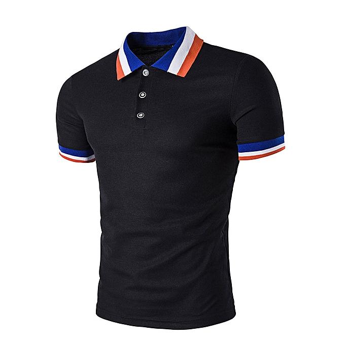 Fashion Hiamok Men's Jacquard Collar Shirt T-Shirt Tee Top Blouse à prix pas cher