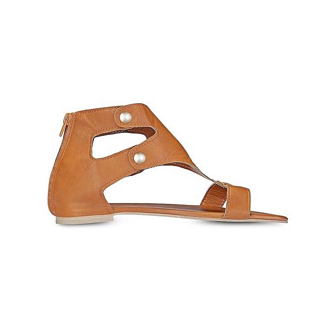 Générique Stylish WoHommes  Flat Shoes Rivets Rivets Shoes Zipper Sandals -BROWN à prix pas cher  | Jumia Maroc fec462