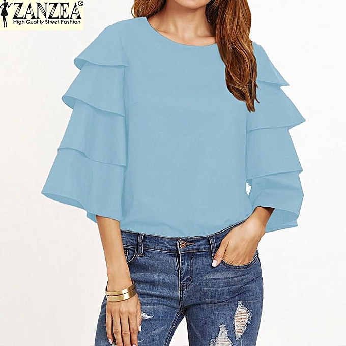 Zanzea S-5XL ZANZEA OverTailled femmes O-Neck 3 4 Flouncing Ruffled Sleeve Shirt Tees hauts été Décontracté Party chemisier (lumière bleu) à prix pas cher