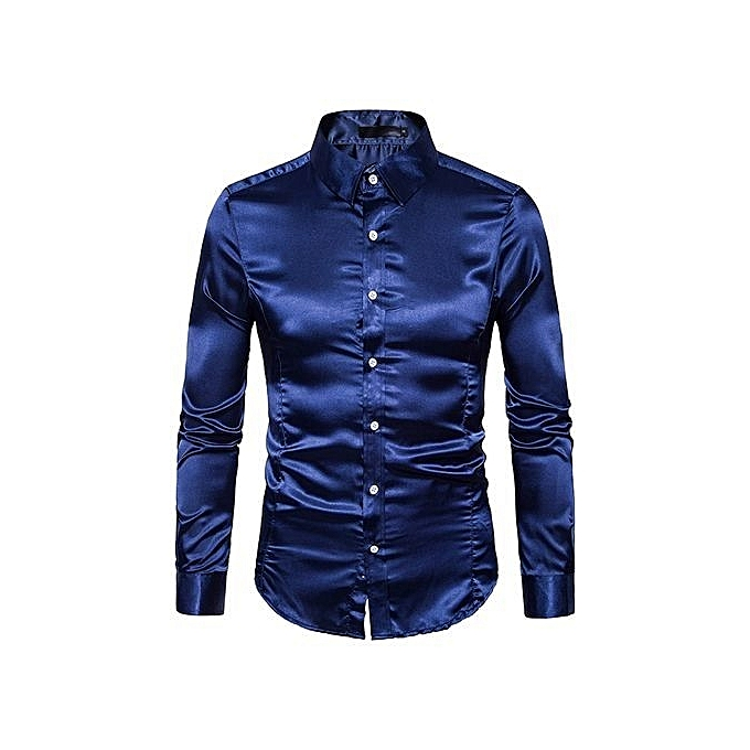 Cuena mode Personality Hommes& 039;s Décontracté Slim Long-sleeved Shirt Top chemisier -navy   L à prix pas cher