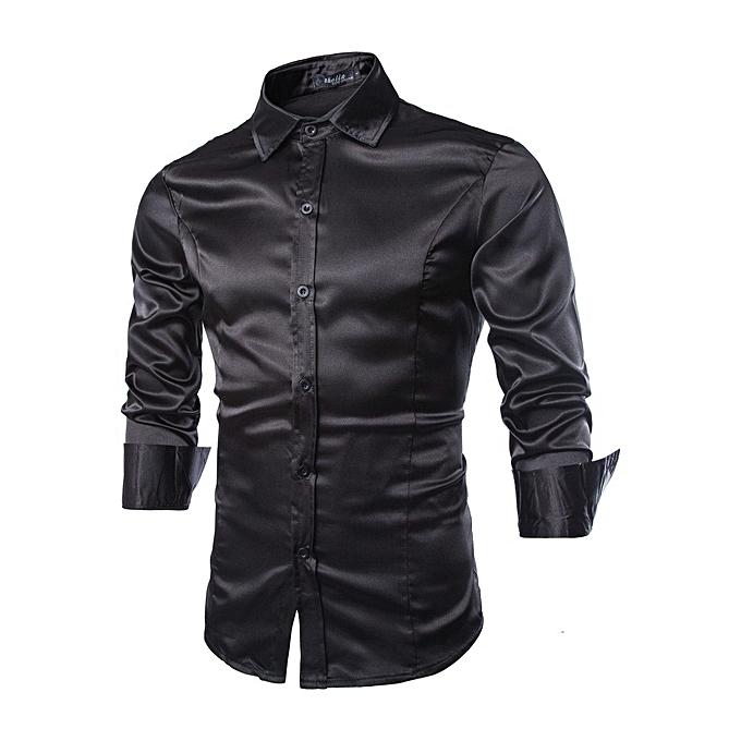 Other New Stylish Men Bright Satin Shirt Plain Couleur Long Sleeve Tops à prix pas cher