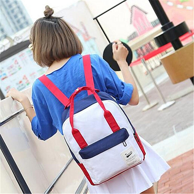 Fashion femmes Canvas Backpack Travel Satchel Rucksack Girls Shoulder School Bag Handbag rouge blanc à prix pas cher