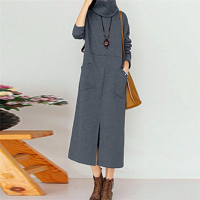 mode femmes mode Pocket Round Neck manche longue Loose Long Robe à prix pas cher