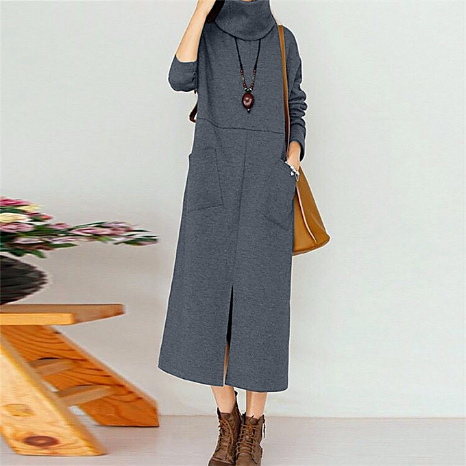 Fashion femmes Fashion Pocket Round Neck Long Sleeve Loose Long Dress à prix pas cher