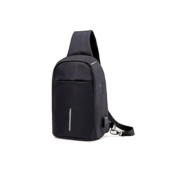 Fashion Xiuxingzi_Rechargeable USB Anti-thief Shoulder Bag Backpack One Shoulder Bag BK à prix pas cher