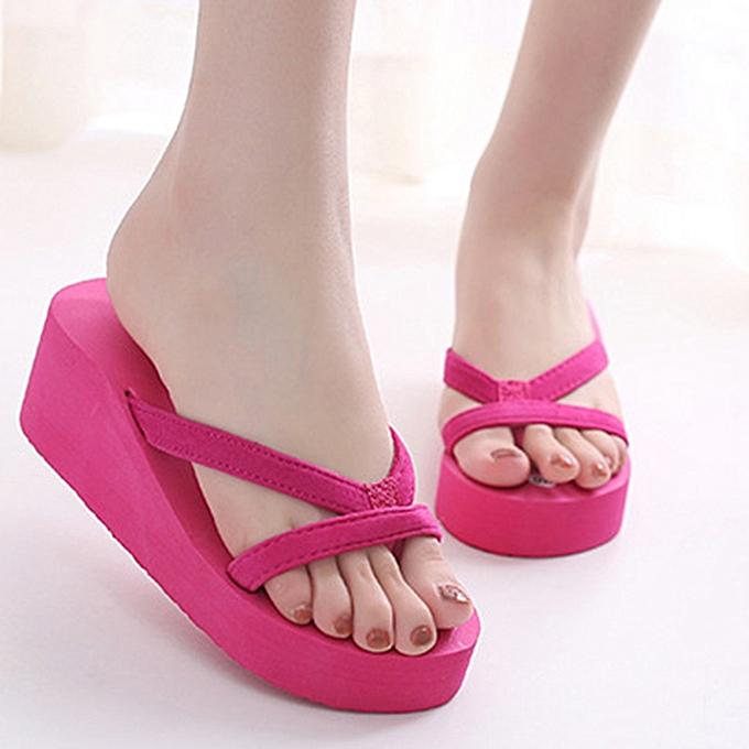 Fashion Large Taille Pure Couleur Wedge Platform Sandals Casual Beach Slippers à prix pas cher    Jumia Maroc