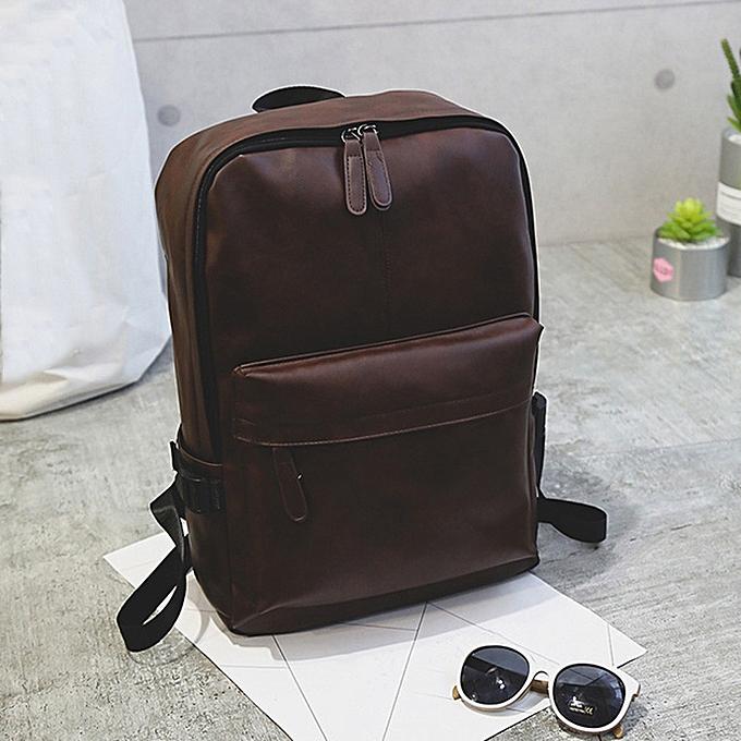 Fashion jiahsyc store Men's Wohommes Leather Backpack Laptop Satchel Travel School Rucksack Bag marron-marron à prix pas cher