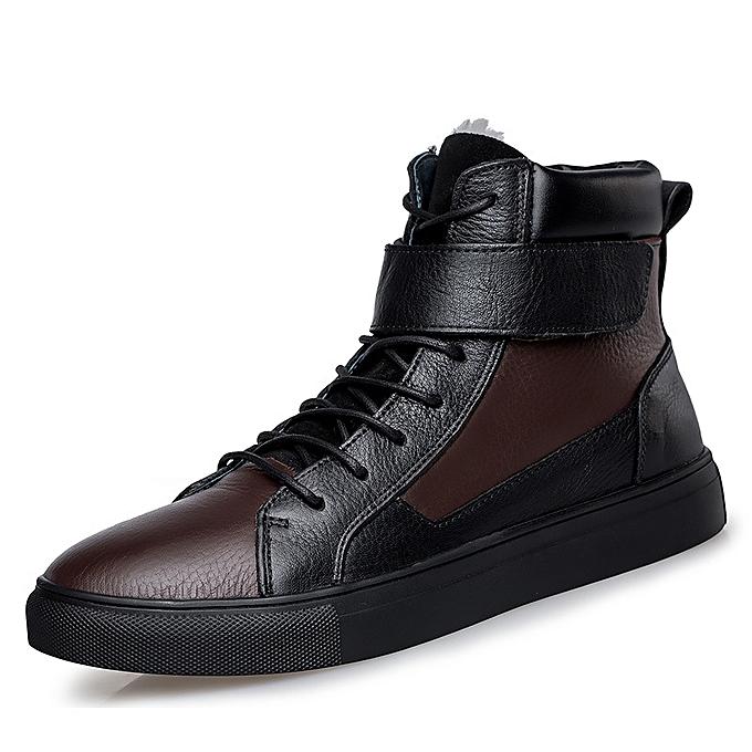 mode Hommes cuir High Top Warm Winter bottes Fur Lining intelligent Décontracté chaussures US7.5-13 à prix pas cher