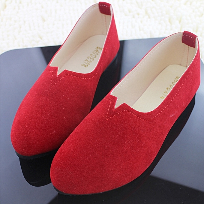 Other New Stylish femmes  Plus Taille Flat chaussures Candy Couleur Suede Singles chaussures-rouge à prix pas cher    Jumia Maroc