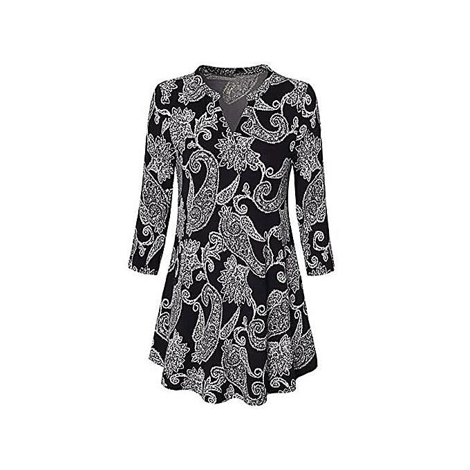Fashion Xiuxingzi Wohommes V-Neck Three Quarter Sleeve Loose Print Tunic Tops Blouses Shirt à prix pas cher