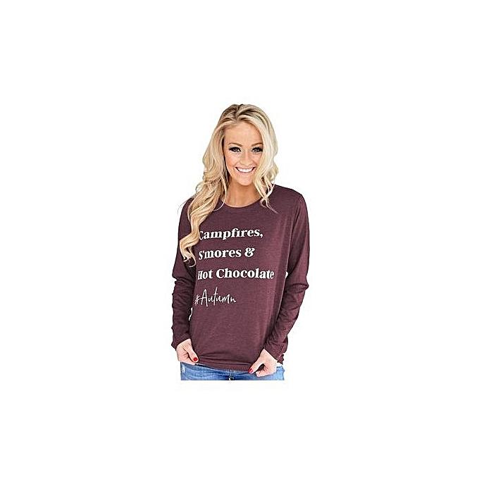 mode 2018 Autumn nouveau Western Style femmes& 039;s Hot Sale Round Neck Long-sleeved Letter T-shirt-violet gris à prix pas cher