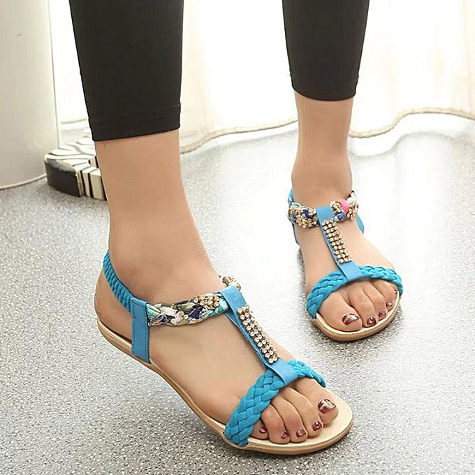 Fashion femmes Sandals Elastic Strap chaussures Casual chaussures Sandals Comfort Sandal-bleu (EU Sizing) à prix pas cher