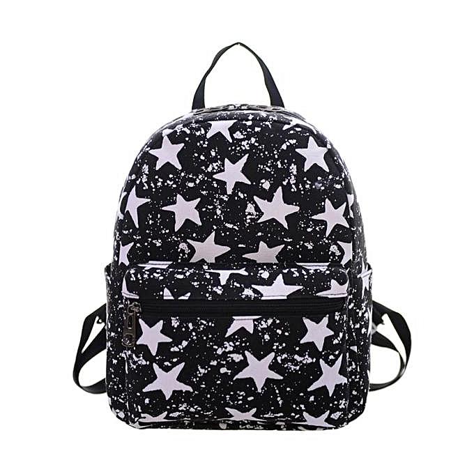 nouveauorldline femmes toile Shoulder sac impression sac School sac à dos sac à dos BK- noir à prix pas cher