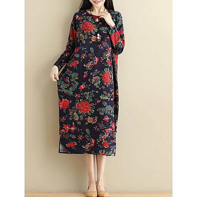 mode Vintage Floral Side Split manche longue Maxi Robe à prix pas cher