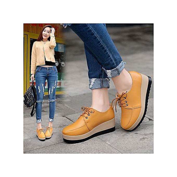 Tauntte Platform Shoes WoHommes  Height Increasing Casual Wedge Wedge Wedge Shoes (Yellow) à prix pas cher  | Black Friday 2018 | Jumia Maroc 4abc43