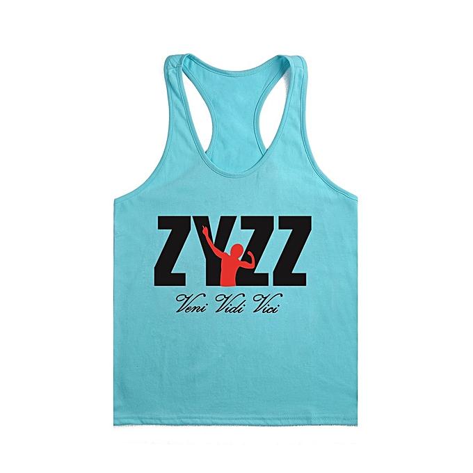 Other New Stylish Men's Summer Sportswear BodybRuilding Fitness Cotton Printed I-shaped ZYZZ Vest-Lake bleu&noir à prix pas cher