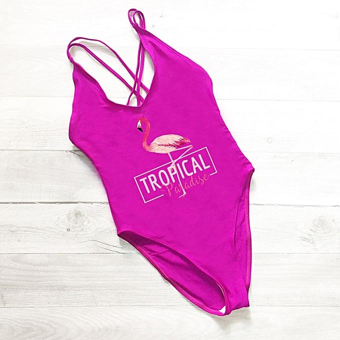 Autre Flamingo Print Swimsuit femmes One Pieces Cross Back Swimwear Bodysuit mayo rouge Bathing Suit maillot de bain femme(violet) à prix pas cher