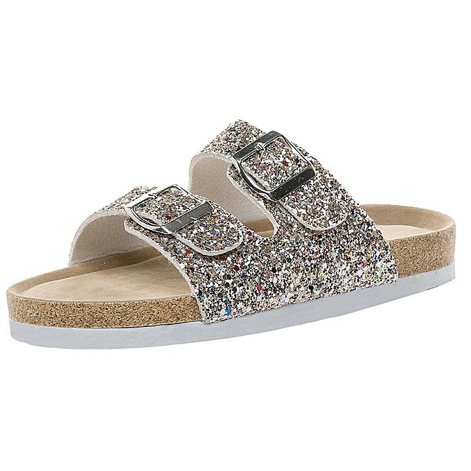 Generic Generic femmes Cross Toe Double Buckle Strap Cork Sequined plage chaussures Flat Sandals A1 à prix pas cher