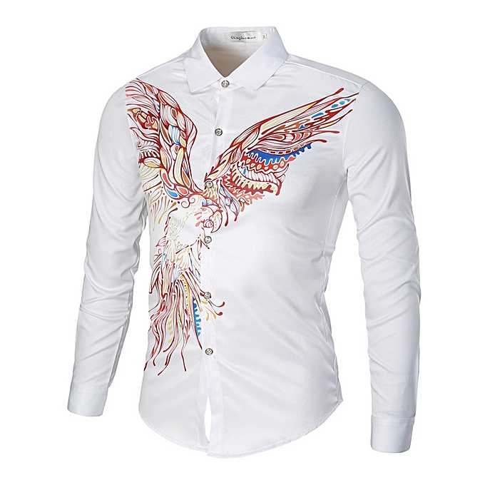 Fashion Men's Long Sleeve Shirt Casual Floral Print Shirts - blanc à prix pas cher