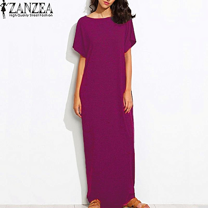 Fashion S-5XL ZANZEA femmes Summer Crew Neck Short Sleeves Kaftan Vestido Ladies Sundress Beach Casual Solid Loose Maxi Long Dress (Claret) à prix pas cher